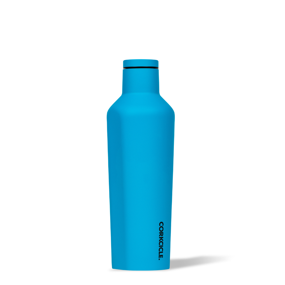 Corkcicle 16oz canteen for hot and cold drinks in matte neon blue