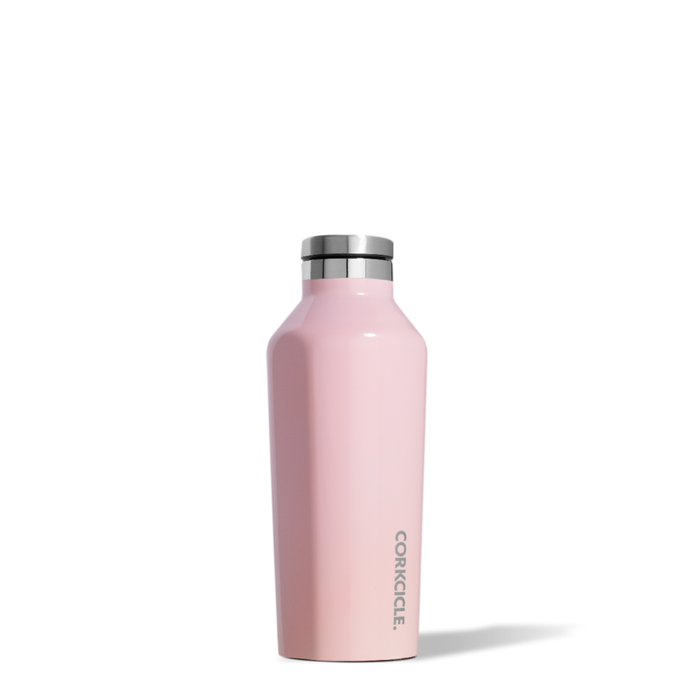 Corkcicle 9oz thermal insulated canteen for hot and cold drinks in rose quartz