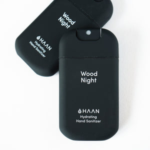 Haan Hand Sanitizer Hydrating 2 Pack in Wood Night Scented in Black Bottle