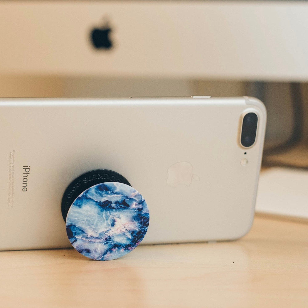 Mobile accessory expanding hand-grip and stand Popsocket in blue marble