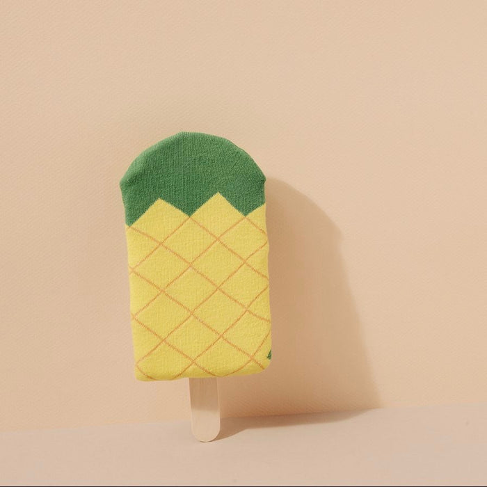 Socks with icepop pineapple in yellow and green