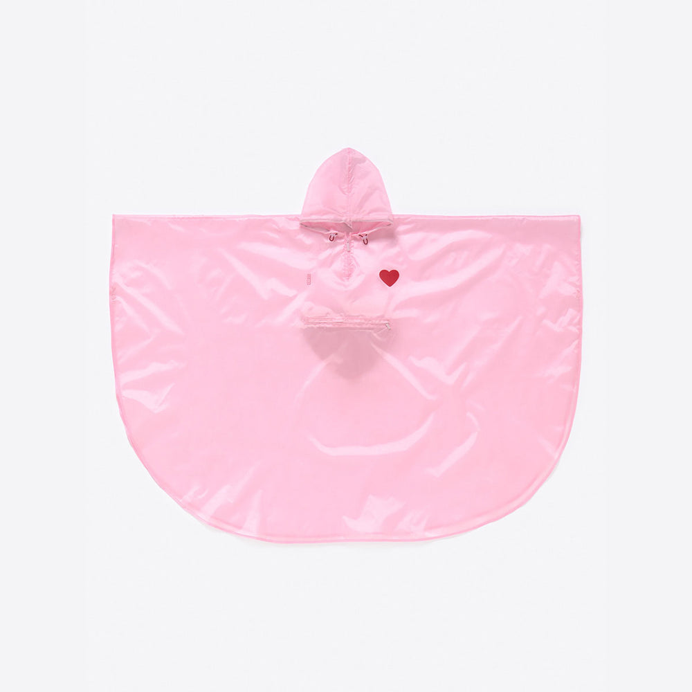 Load image into Gallery viewer, Rain Poncho Foldable Yolo Heart Pink