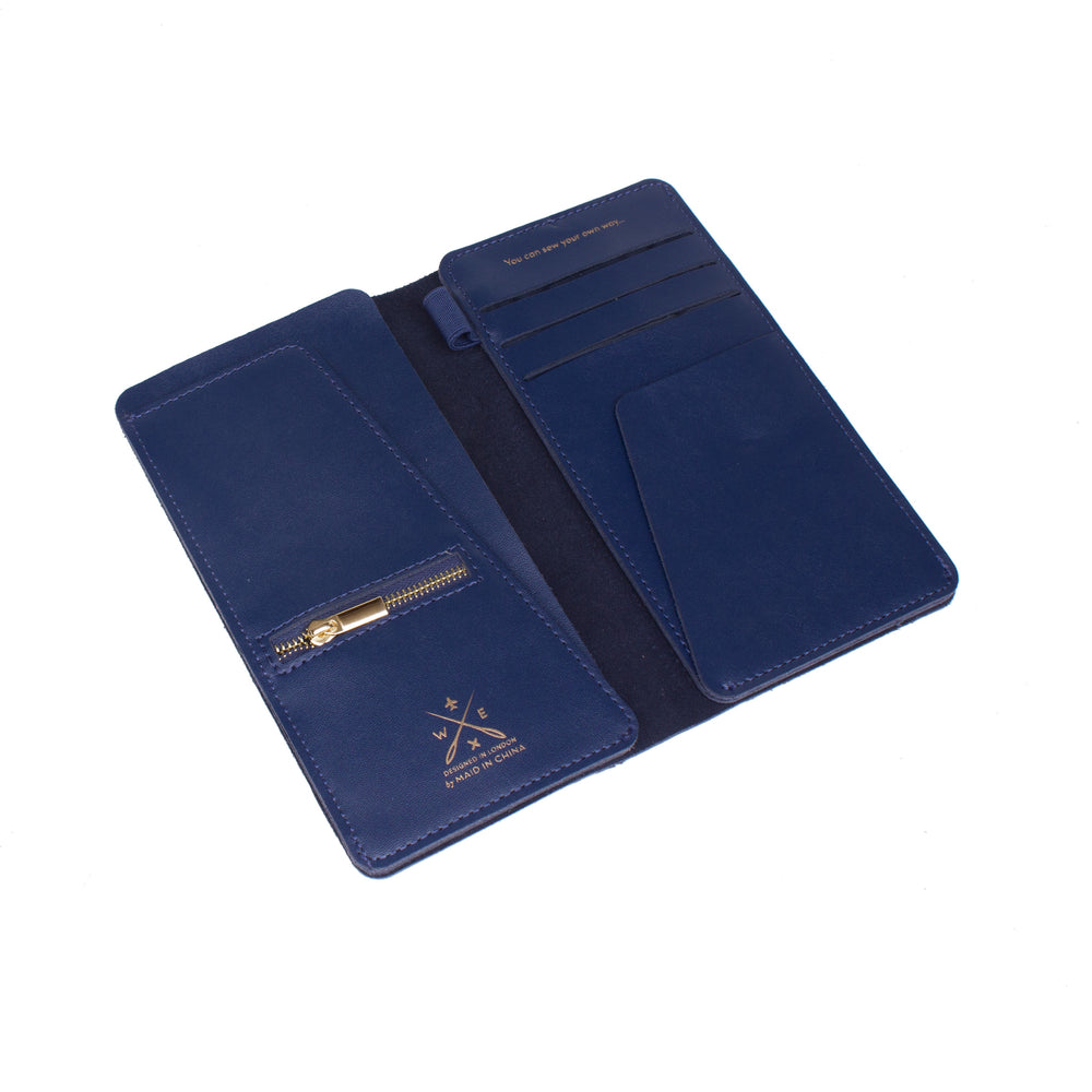 Load image into Gallery viewer, Navy stitch travel wallet
