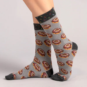 Load image into Gallery viewer, Socks Unisex Doughnut Grey Brown