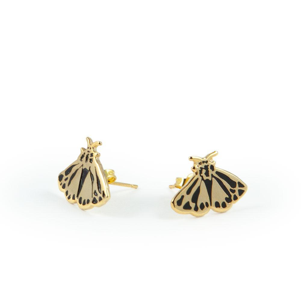Load image into Gallery viewer, Stud earrings moth shaped in gold by Katy Welsh