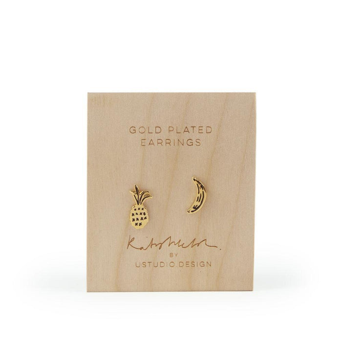 Stud earrings 'banana and pineapple' fruit shaped in gold by Katy Welsh