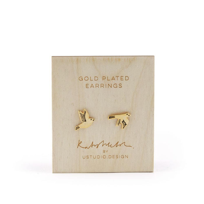 Stud earrings swallow bird shaped in gold by Katy Welsh