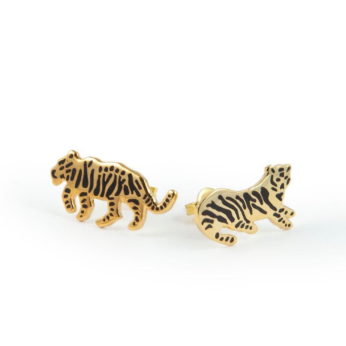 Stud earrings tiger shaped in gold by Katy Welsh