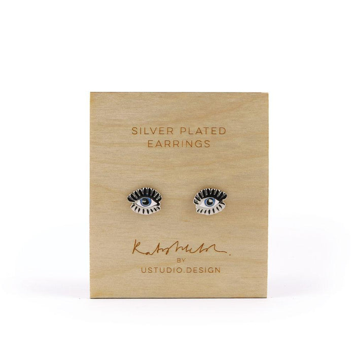 Stud earrings Blue Evil Eye shaped in silver by Katy Welsh