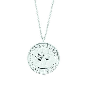Lucky six pence necklace silver