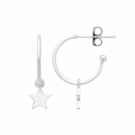 Star hoop silver earrings
