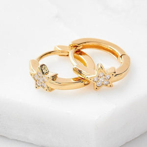 Load image into Gallery viewer, Star Hoop Earrings Cubic Zirconia In Gold