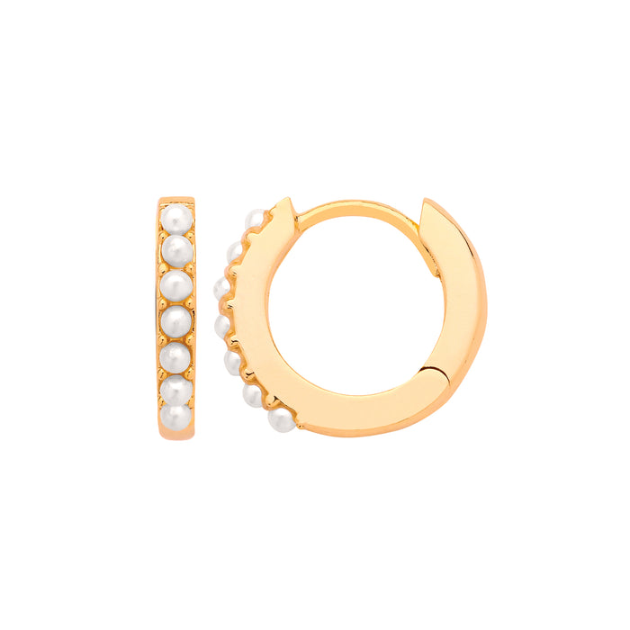 Pearl pave hoop gold