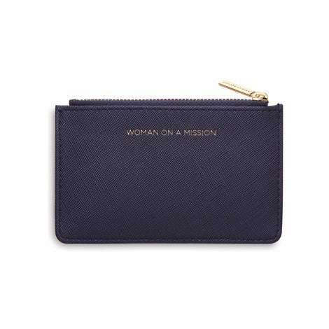 Card Purse Vegan Faux Leather 'Woman on a Mission' Navy