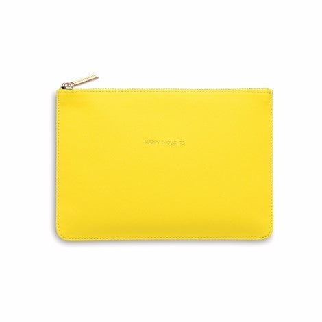 Medium Pouch Vegan Faux Leather 'Happy Thoughts' Yellow