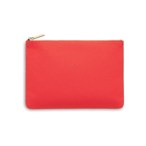 Medium Pouch Vegan Faux Leather 'XOXO' Coral