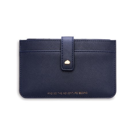 Travel document wallet in navy