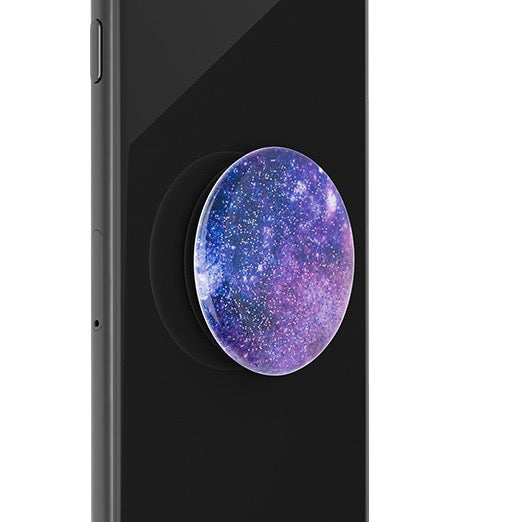 Mobile accessory expanding hand-grip and stand Popsocket in glitter space nebula