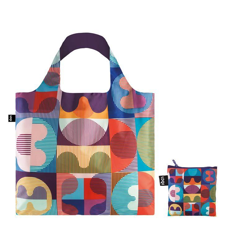 Load image into Gallery viewer, Foldable Tote bag with 'Grid' geometric artwork by HVASS&HANNIBAL in multicolour