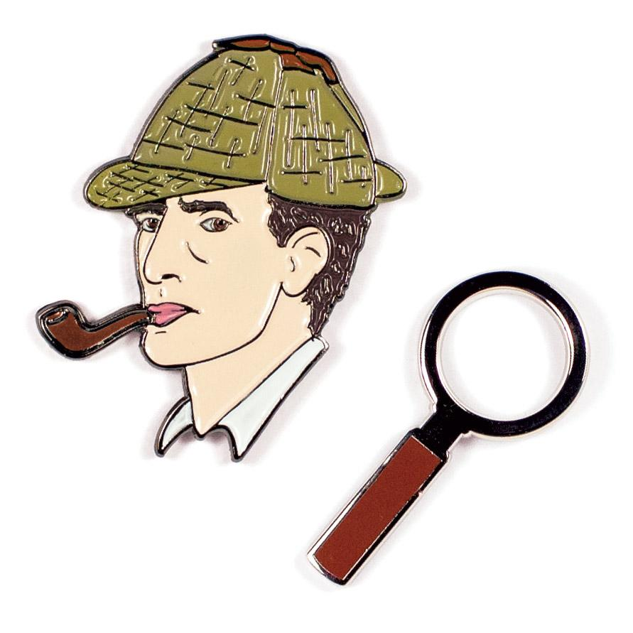 Two Enamel Pin Badge set with Sherlock Holmes and spyglass