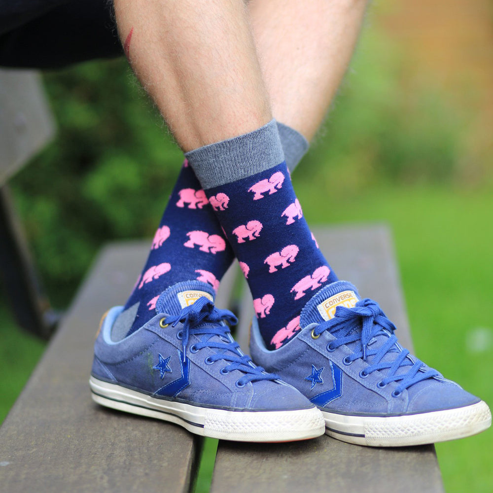 Socks Unisex Elephants Pink Navy