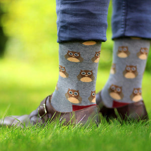 Load image into Gallery viewer, Socks Unisex Owl Grey Maroon