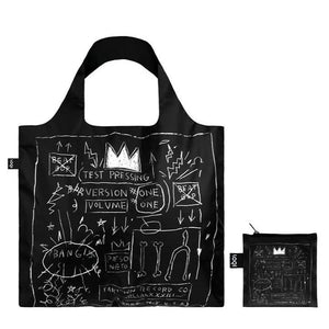 Foldable Tote bag with 'Crown bag' graffiti artwork by Jean-Michel Basquiat in black