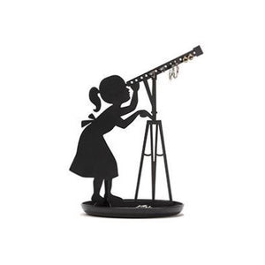 Jewellery stand with stargazer girl in black