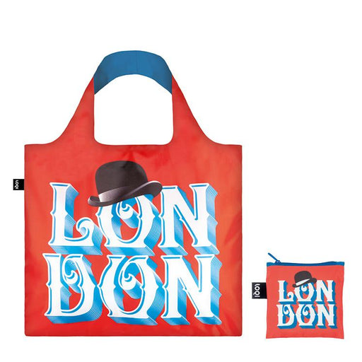 Foldable Tote bag with London typographic artwork by Alex Trochut in red