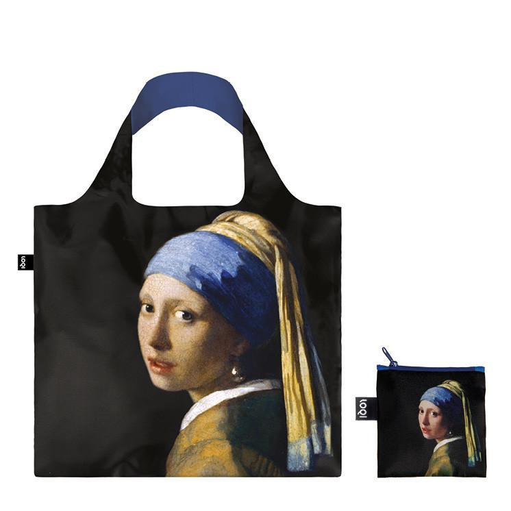 Foldable Tote bag with 'Girl with a Pearl Earring' artwork by Johannes Vermeer in black