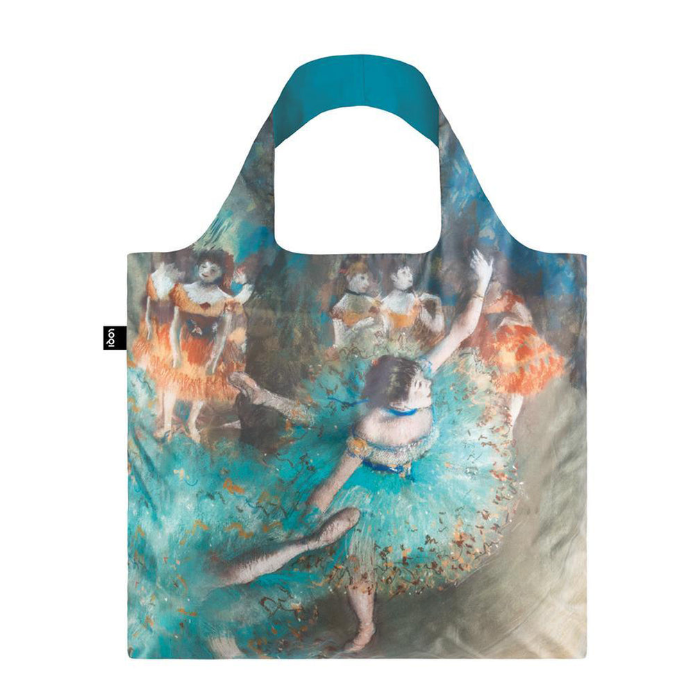 Foldable Tote bag with Dancer artwork by Edgar Degas in blue green