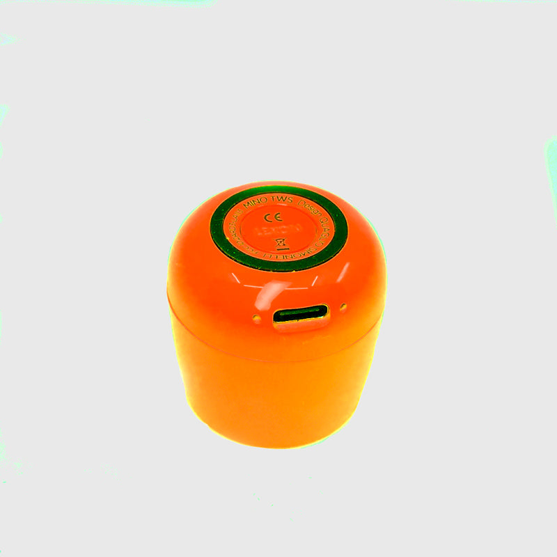Load image into Gallery viewer, Ultra-portable bluetooth speaker in neon orange
