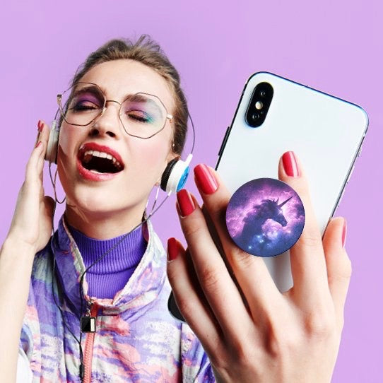 Mobile accessory expanding hand-grip and stand Popsocket in mystical unicorn nebula