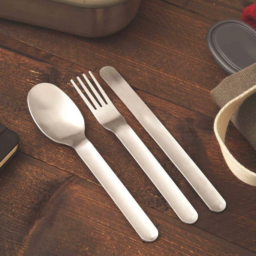 Cutlery set portable in a travel case from stainless steel