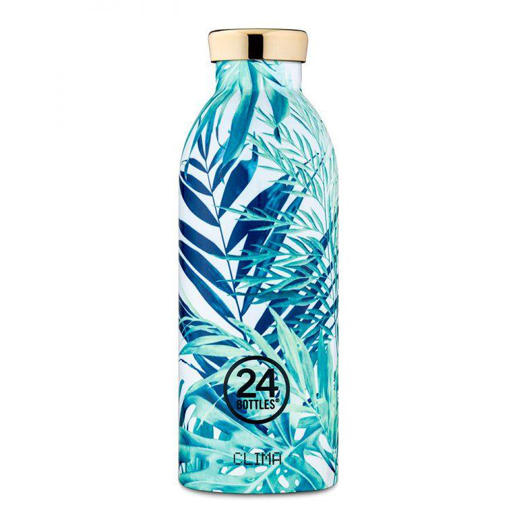 Water Bottle Insulated 500ml Green Leaves Tropical Lush