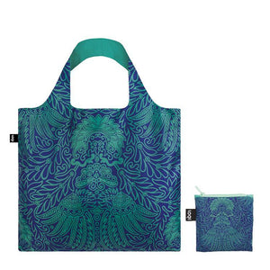 Foldable Tote bag with 'Japanese Decor' print artwork by Desfosse in turquoise