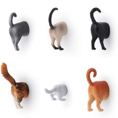 Magnets shaped like Cat Butts in multicolours