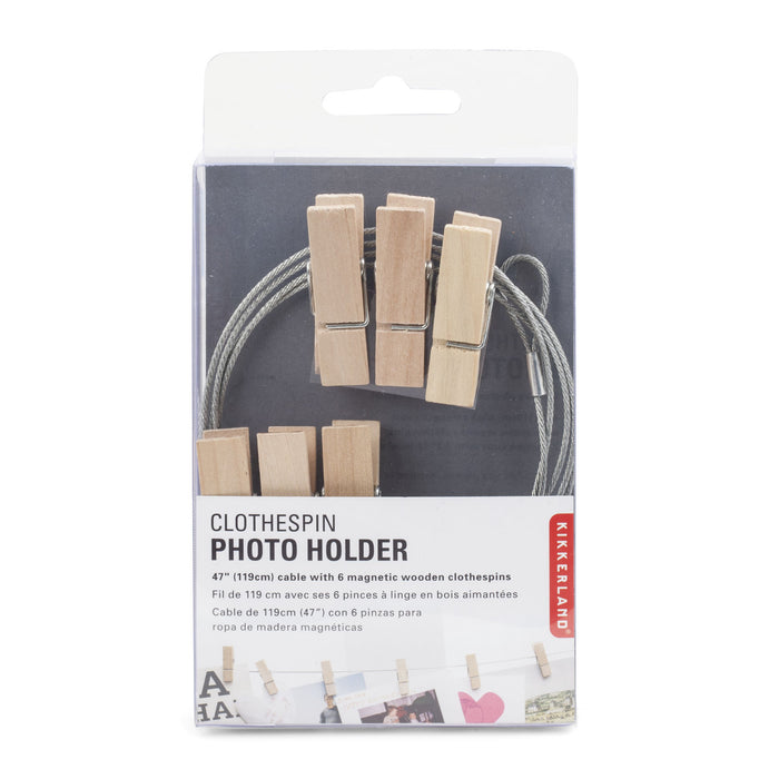 6 Wooden clothespin photo holders Home KIKKERLAND - Brand Academy Store
