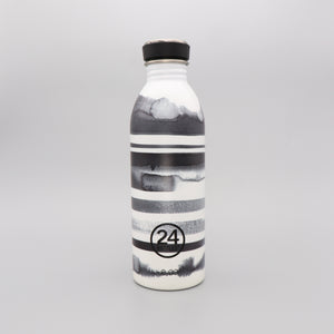 Water Bottle Lightweight 500ml Black and White Stripes
