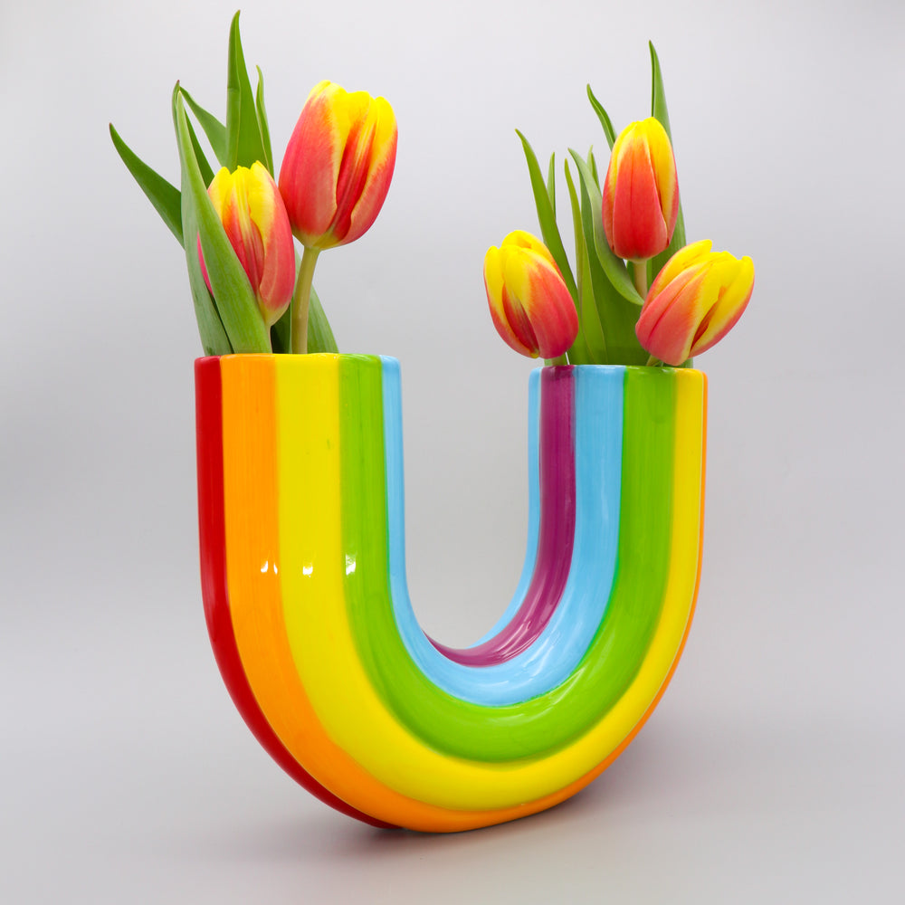 Load image into Gallery viewer, Rainbow Vase Ceramic Double Rainbow Bright Multicoloured Vase