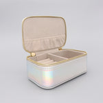 Mini Jewellery Box Faux Leather 'Shine Bright' Iridescent Silver