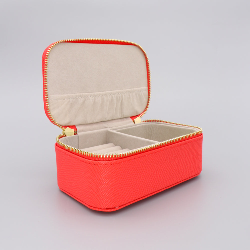 Mini Jewellery Box Faux Leather 'Woman on a Mission' Coral