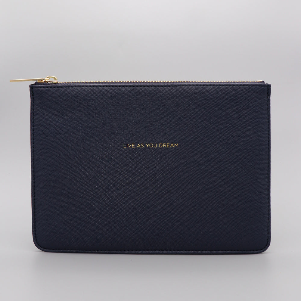 Medium Pouch Vegan Faux Leather 'Live as you Dream' Navy