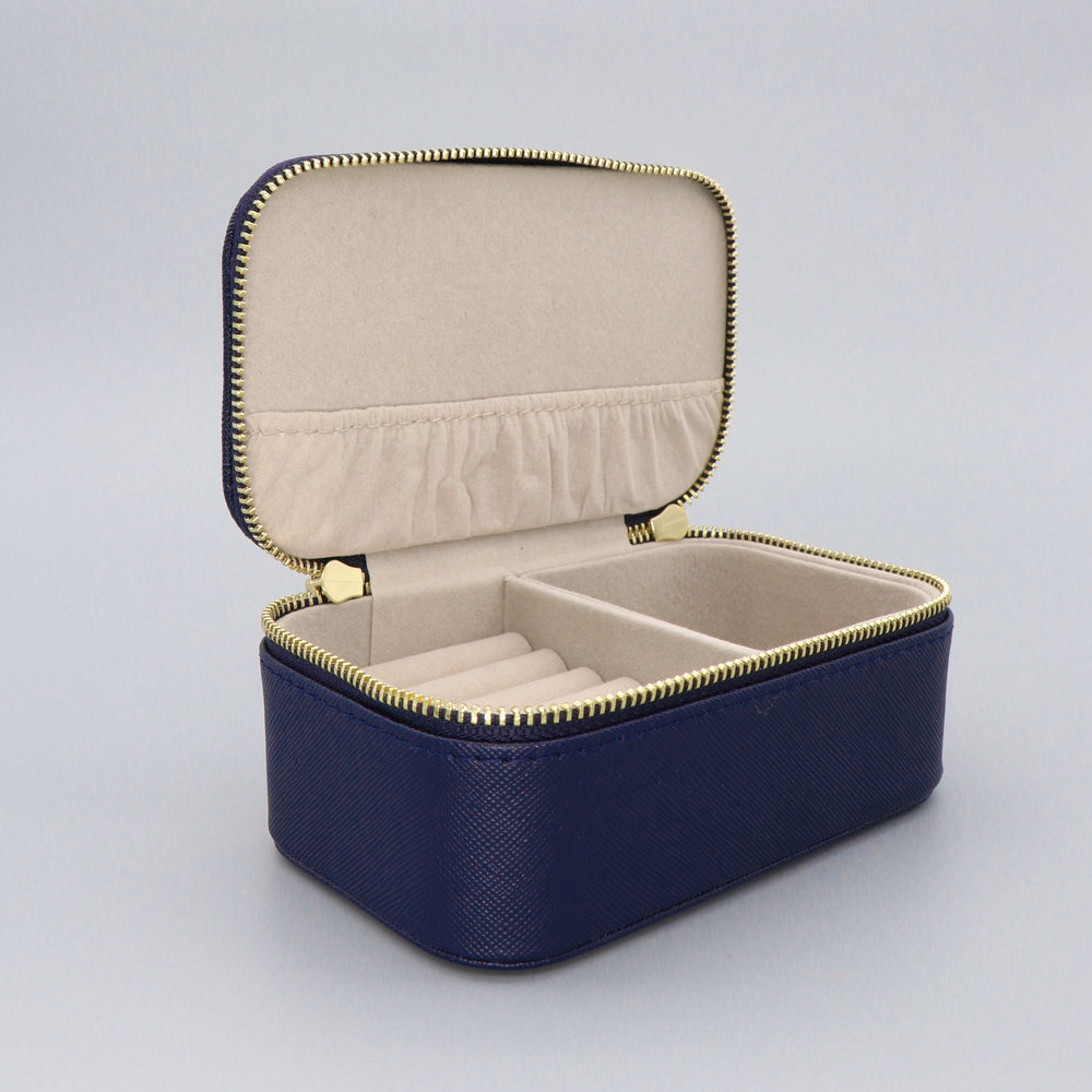Load image into Gallery viewer, Mini Jewellery Box Faux Leather 'Live as you dream' Navy