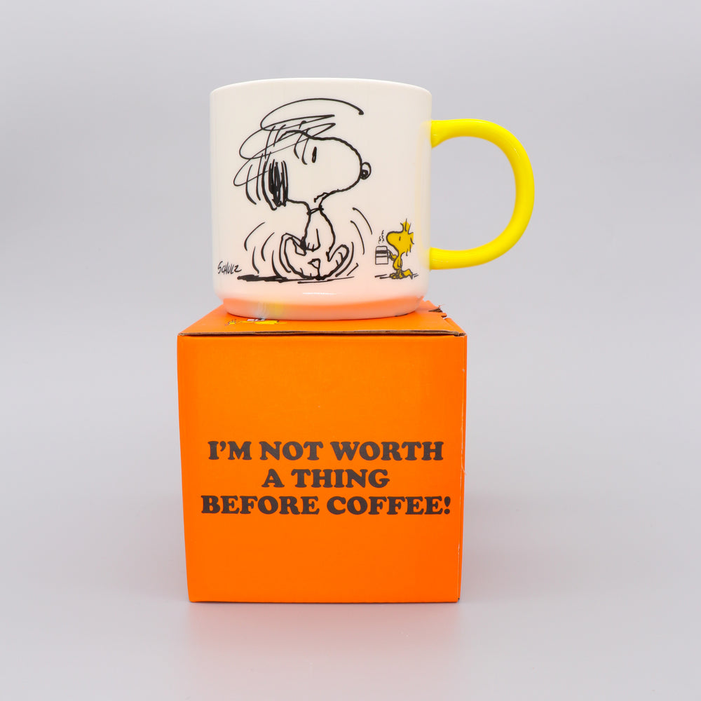 Snoopy Mug with Peanuts Comic Coffee White and Yellow