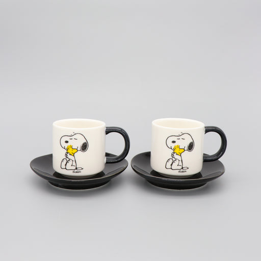 Snoopy Espresso Cup and Saucer Set of 2 Peanuts Comic 'Love' in White and Black