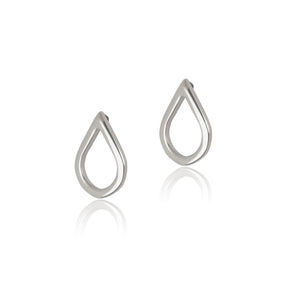 Stud earrings in gift bottle with teardrop design from solid sterling silver