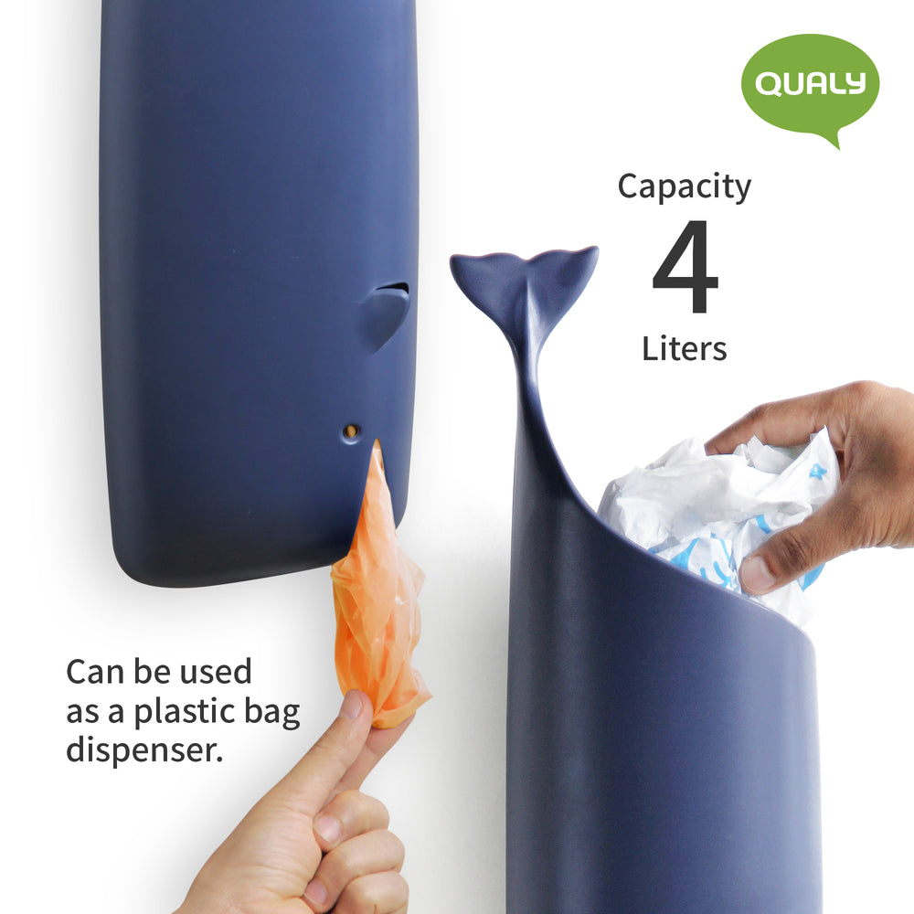 Plastic bag holder and dispenser whale ocean climate change in blue