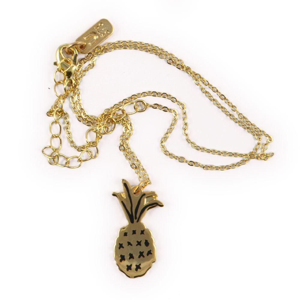 Necklace with Pineapple pendant in gold by Katy Welsh