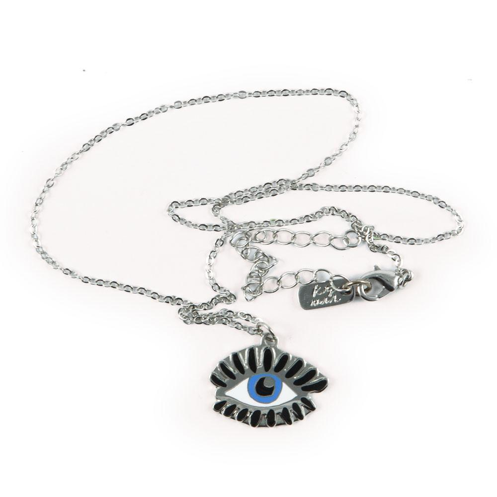 Necklace with Blue Evil Eye pendant in silver by Katy Welsh